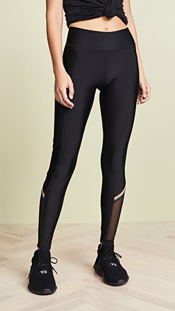 Terez Rainbow Trim Mesh Leggings