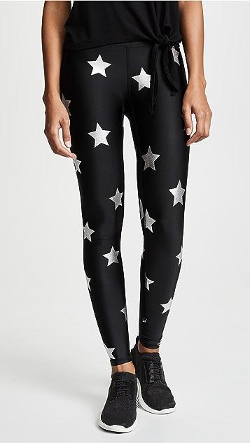 Terez 银色星星锡箔印花贴腿裤