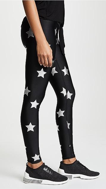 Terez Silver Star Foil Printed Leggings