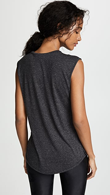 Terez Muscle Tee with Striped Elastic