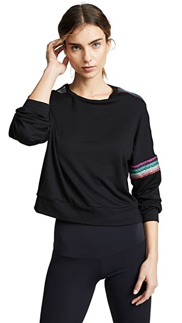 Terez Metallic Elastic Strap Long Sleeve Tee