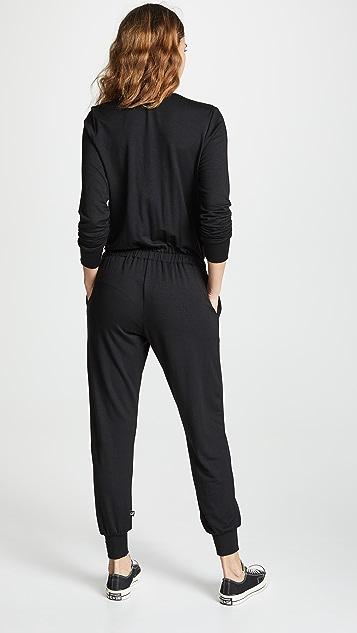 Terez Long Sleeve Wrap Jumpsuit