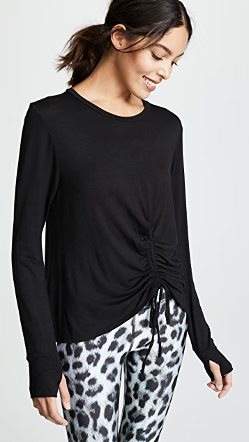 Terez Ruched Tie Front Long Sleeve Tee
