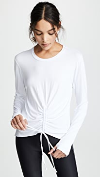 Ruched Tie Front Long Sleeve Tee