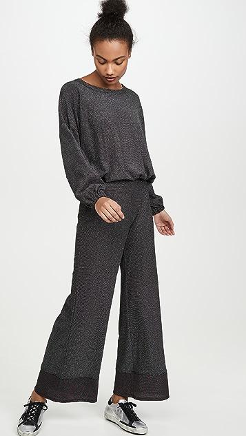 Terez 闪光色针织华夫格运动衫