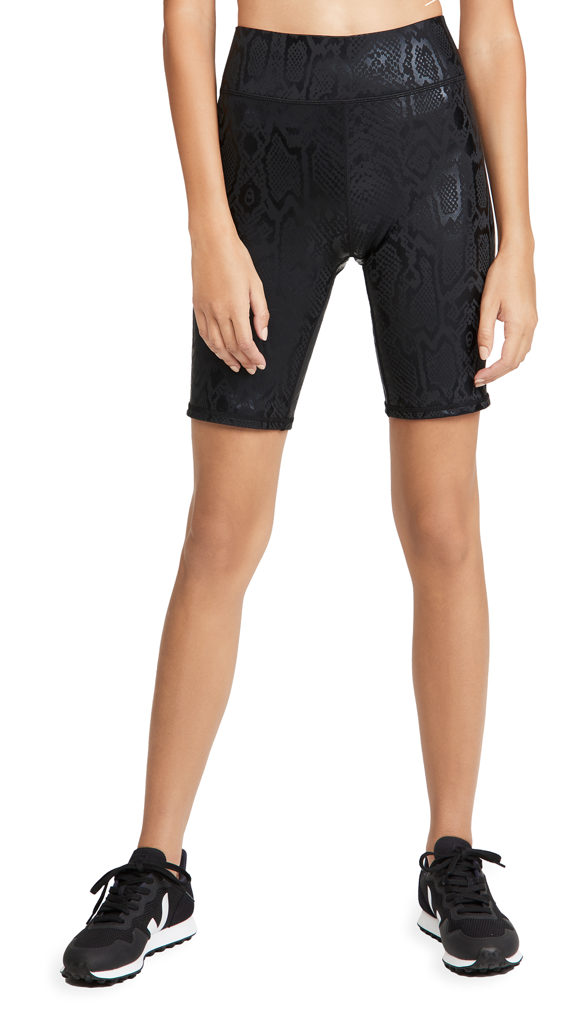 Terez Black Snakeskin Foil Bike Shorts