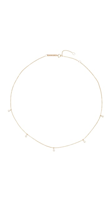 Zoe Chicco 14k Gold Five Diamond Chain Choker Necklace