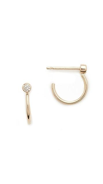 Zoe Chicco Bezel Diamonds 14k Gold Huggie Earrings