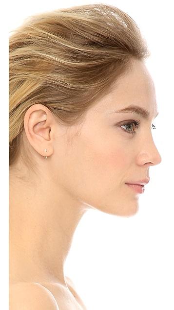 Zoe Chicco 14k Gold Reversible Bezel Diamonds Huggie Earrings
