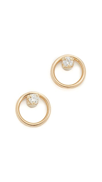Zoe Chicco Paris Stud 14k Gold Earrings - Gold/Clear