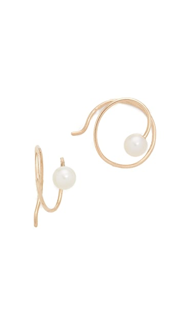 Zoe Chicco 14k Gold Freshwater Cultured Pearl Swirl Earrings
