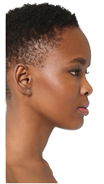 Zoe Chicco Turquoise Gemstones Backwards Huggie Earrings