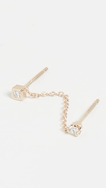 Zoe Chicco 14k Gold Paris Double Chain Stud Earrings