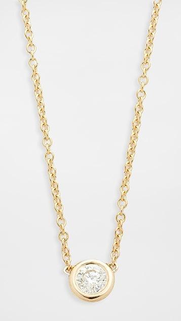 Zoe Chicco Короткая цепочка с кулоном из 14-каратного золота с бриллиантами в закрепке «безель»
