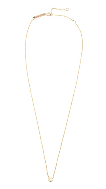 Zoe Chicco 14k Gold Bezel Diamond Short Pendant Necklace