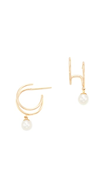 Zoe Chicco 14k Gold Double Huggie Earrings with Freshwater Cultured Pearls - Pearl/Gold
