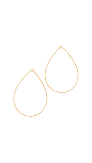 Zoe Chicco 14k Gold Tear Diamond Hoop Earrings