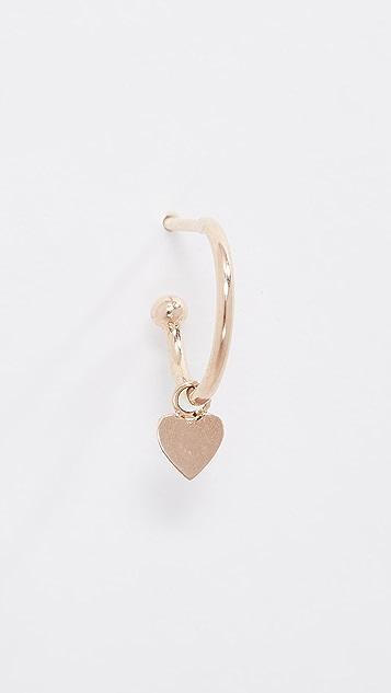 Zoe Chicco Серьга-кольцо Huggie из 14-каратного золота с подвеской в виде сердечка
