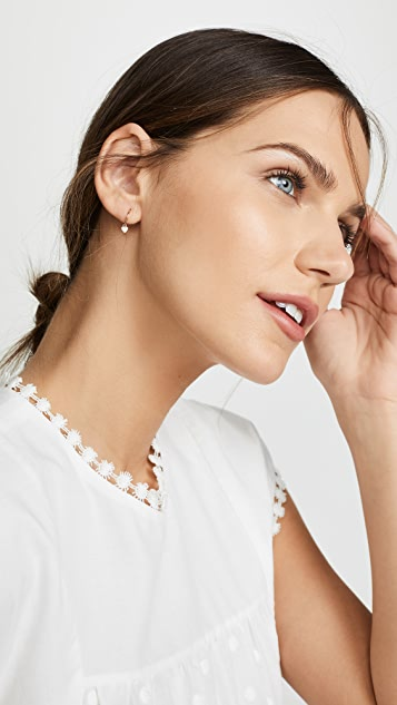 Zoe Chicco 14K 金心形贴耳式圈式耳环