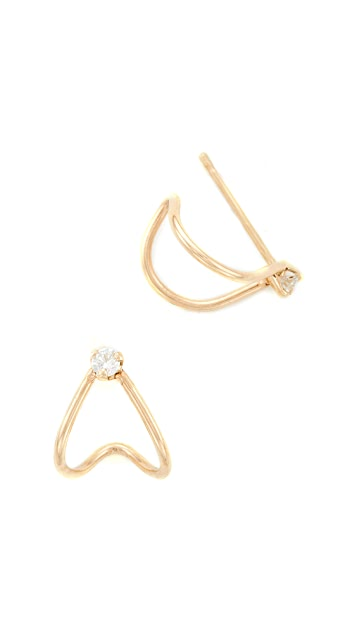 Zoe Chicco 14k Gold Huggie Diamond Hoop Earrings