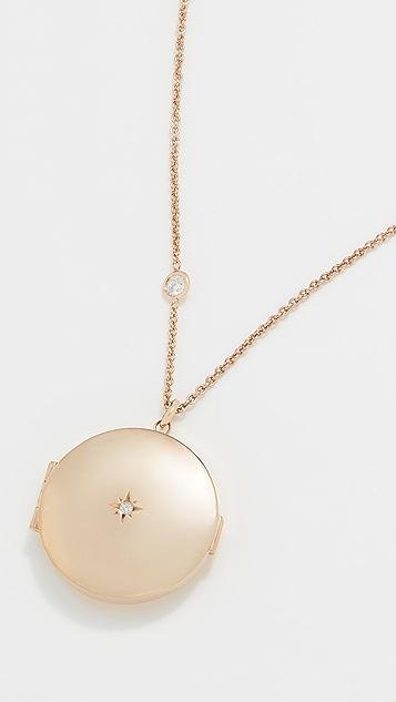 Zoe Chicco 14K 金钻石盒式挂锁项链