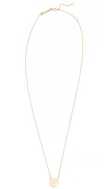 Zoe Chicco 14k Gold Small Disc Diamond Necklace