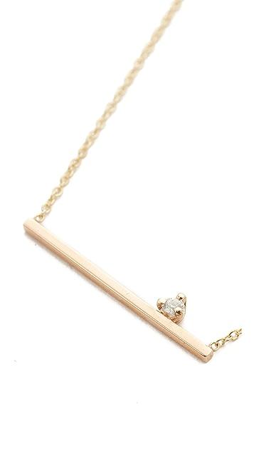 Zoe Chicco 14k Gold Thin Bar Diamond Necklace