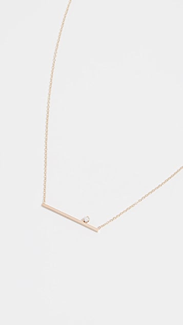 Zoe Chicco 14k Gold Thin Bar Diamond Necklace