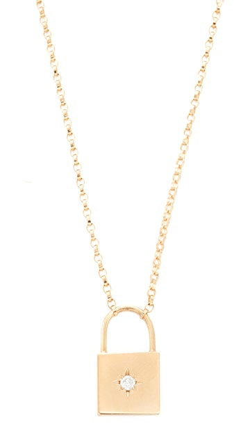 diamond p mu sydney pendant padlock lock necklace evan prod gold