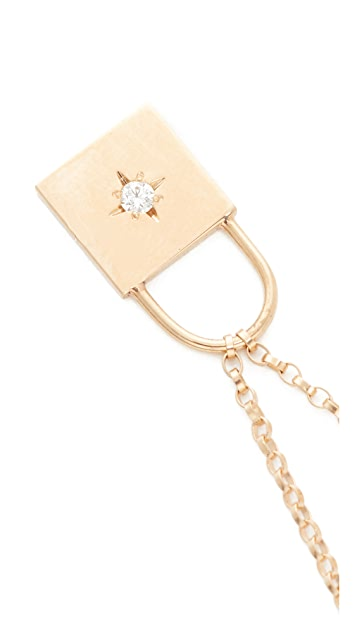 Zoe Chicco 14k Gold Padlock Diamond Necklace