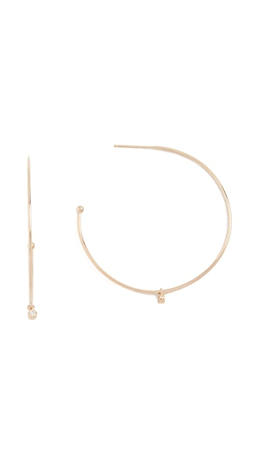Zoe Chicco 14k Gold Elegant Hoop with Dangle Accent