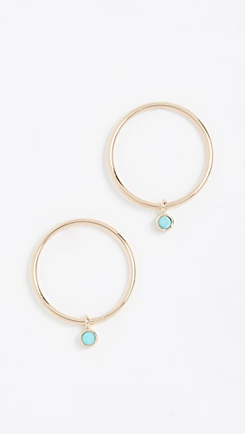 Zoe Chicco 14k Gold Earrings with Turquoise Bezel