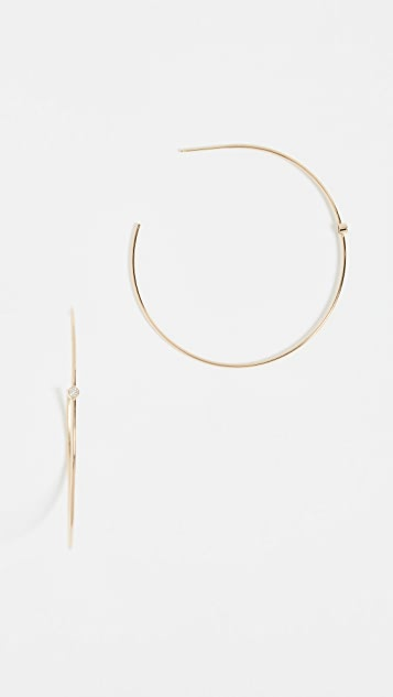 Zoe Chicco 14k Gold Hoop Earrings with White Diamonds