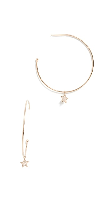 Zoe Chicco 14K Gold Hoop Earrings with Diamond Star Charms