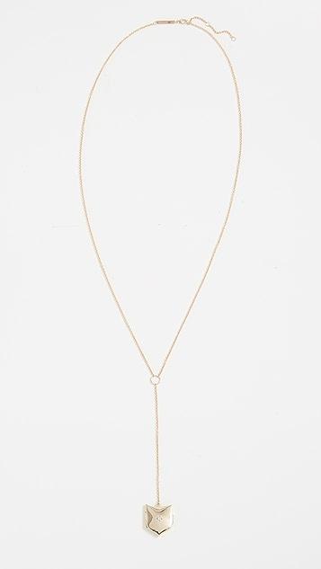 Zoe Chicco 14k Gold Shield Locket Lariat Necklace with Diamond