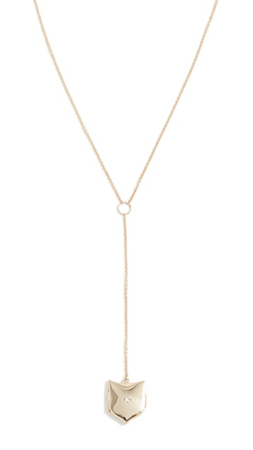 Zoe Chicco 14k Gold Shield Locket Lariat Necklace with Diamond