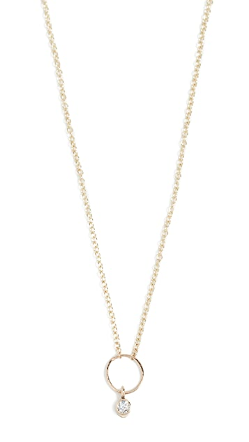 Zoe Chicco 14k Gold Anchored Circle Necklace with White Diamond