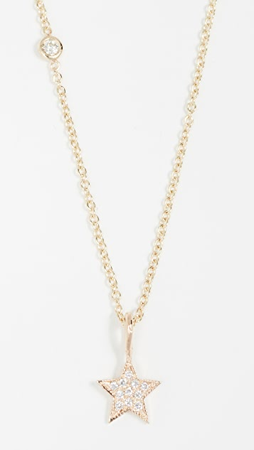 Zoe Chicco 14k Gold Charm Necklace with Medium Pave Diamond Star