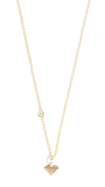 Zoe Chicco 14k Gold Gemstone Charm Necklace with White Diamond