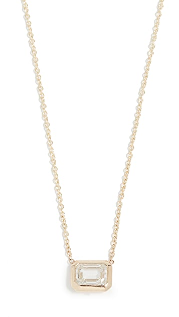 Zoe Chicco 14k Gold Necklace with Large Emerald Cut Diamond