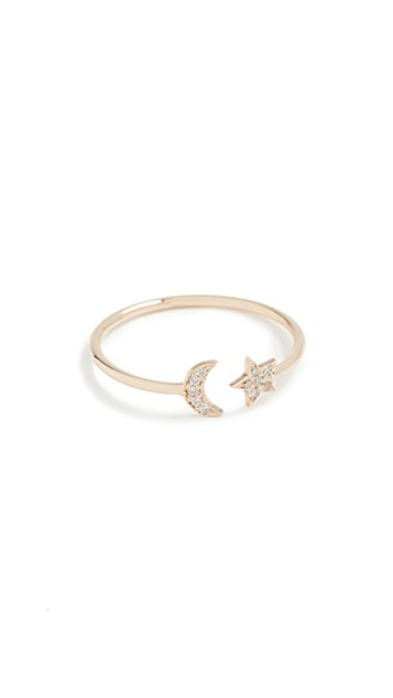 Zoe Chicco 14k Gold Star & Moon Ring with Diamonds