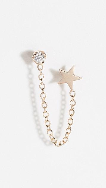 Zoe Chicco 14k Double Stud Earrings with Star & Diamond Chain