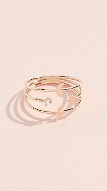Zoe Chicco 14k 3 Band Rings with Itty Bitty Charms