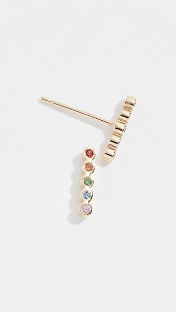 Zoe Chicco 14k Tiny Bezel Bar Rainbow Earrings