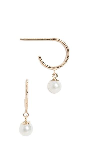 Zoe Chicco 14k Tiny Huggie Earrings with Pearl Drop