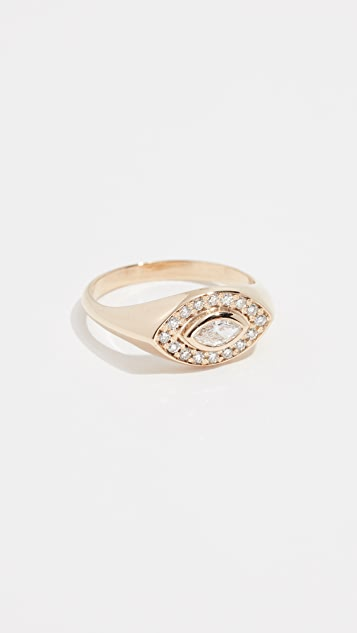 14k Marquis Signet Ring by Zoe Chicco