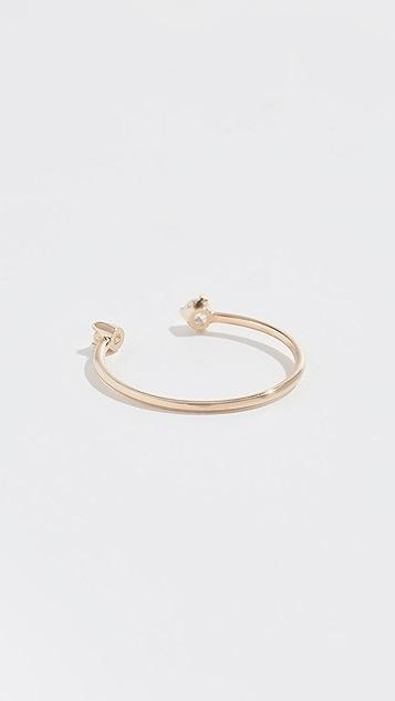 Zoe Chicco Разомкнутое кольцо из 14-каратного золота с бриллиантами
