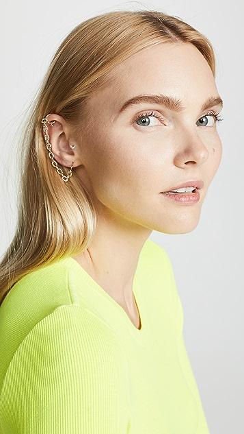 Zoe Chicco 14K 金贴耳圈式链条耳骨夹