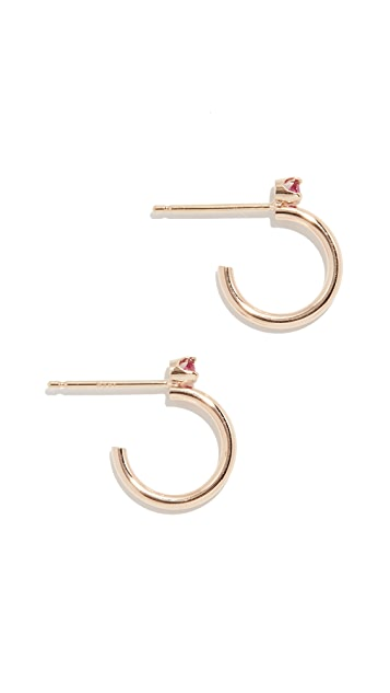 Zoe Chicco 14K 金红宝石粗贴耳圈式耳环