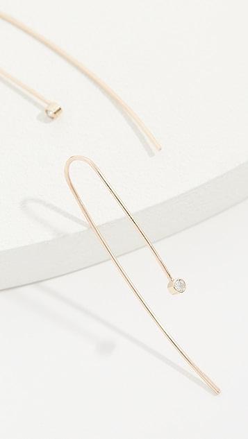Zoe Chicco 14k Gold White Diamond Wire Earrings